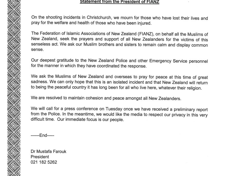 Christchurch – The Federation of Islamic Associations of New Zealand
