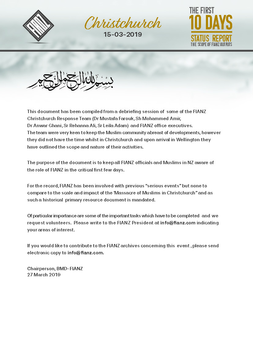 Christchurch-The First 10 Days – The Federation of Islamic